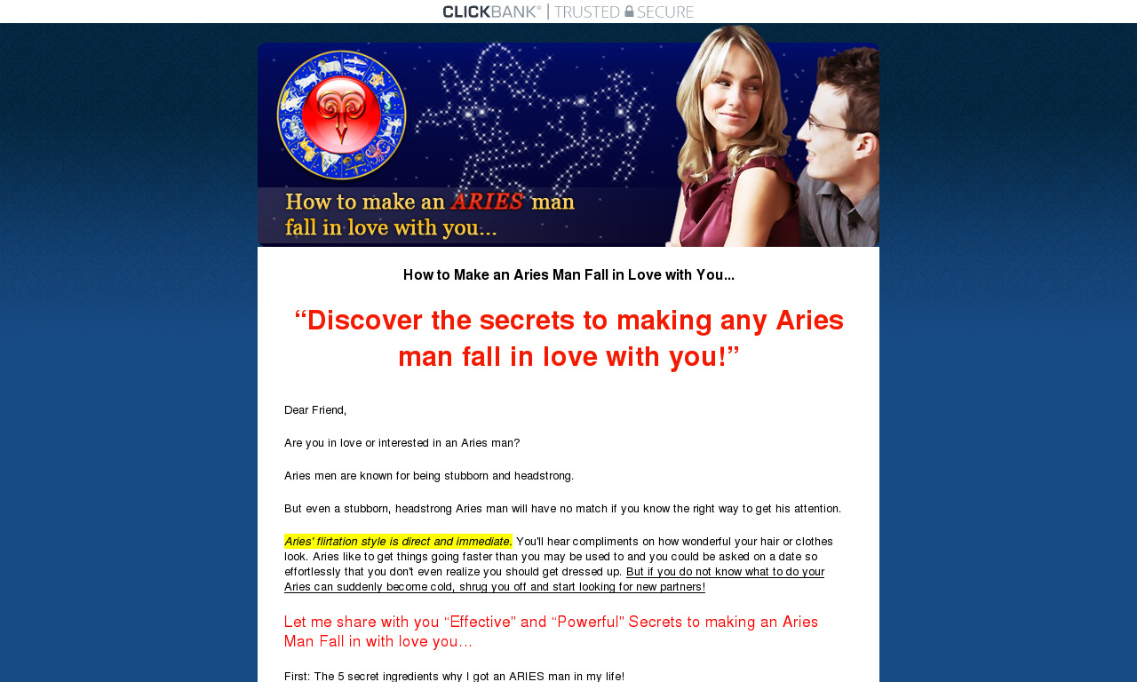 How to Make an Aries Man Fall in Love with You Ebook