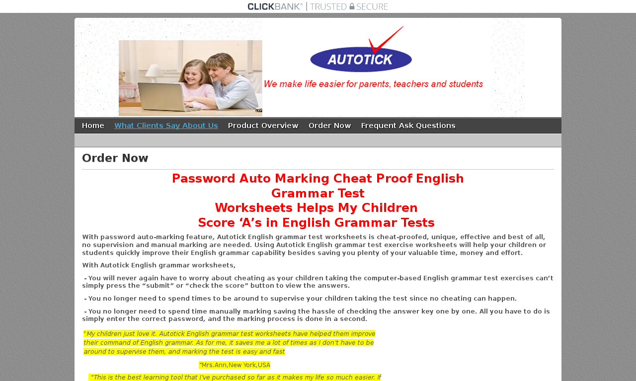 Level 1 to 6 PDF autotick English grammar test worksheets