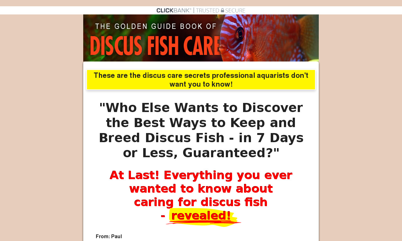 The Golden Guide Book of Discus Fish Care