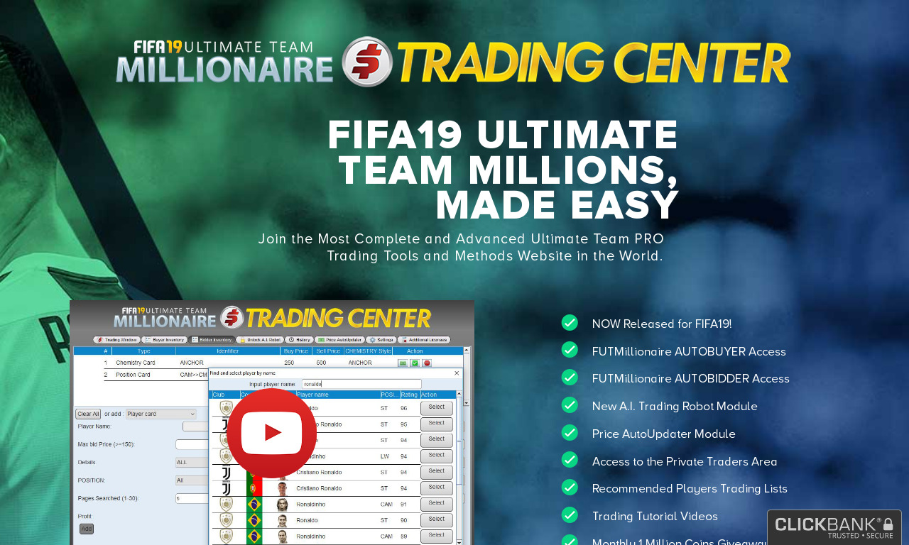 The a href='/external_link/98486'FIFA Ultimate Team Millionaire Trading Center/a Homepage