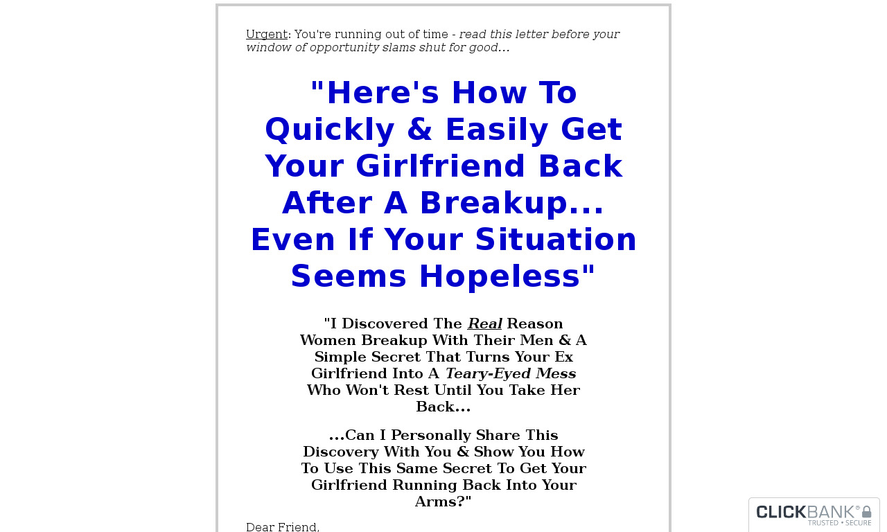 The Girl Back System 14 day trial with money back guarantee